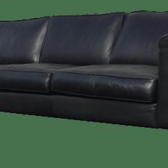 Modern Black Leather Sofa Denim Slipcover T Cushion Contemporary Chairish