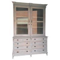 Farmhouse Country Chic Linen Press Cabinet | Chairish