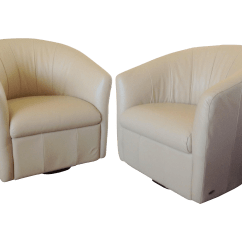 Natuzzi Swivel Chair Covers For Bar Chairs Beige Leather A Pair Chairish