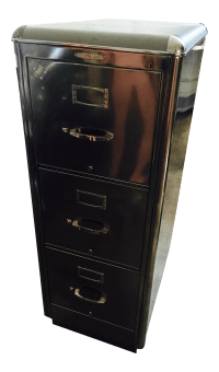 Metal & Leather-Top Filing Cabinet | Chairish
