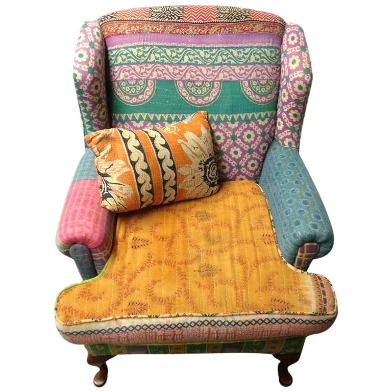 Boho Chic MultiColor Upholstered Wingback Chair  Chairish