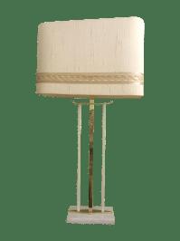 Mid-Century Brass & Marble Table Lamp | Chairish