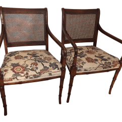 Bamboo Cane Back Chairs Large Round Chair Faux Pair Chairish
