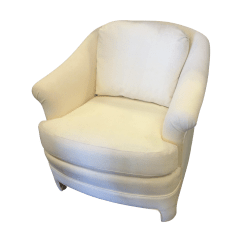 White Club Chairs Genuine Leather Office Chair Upholstered Barrel Back Chairish
