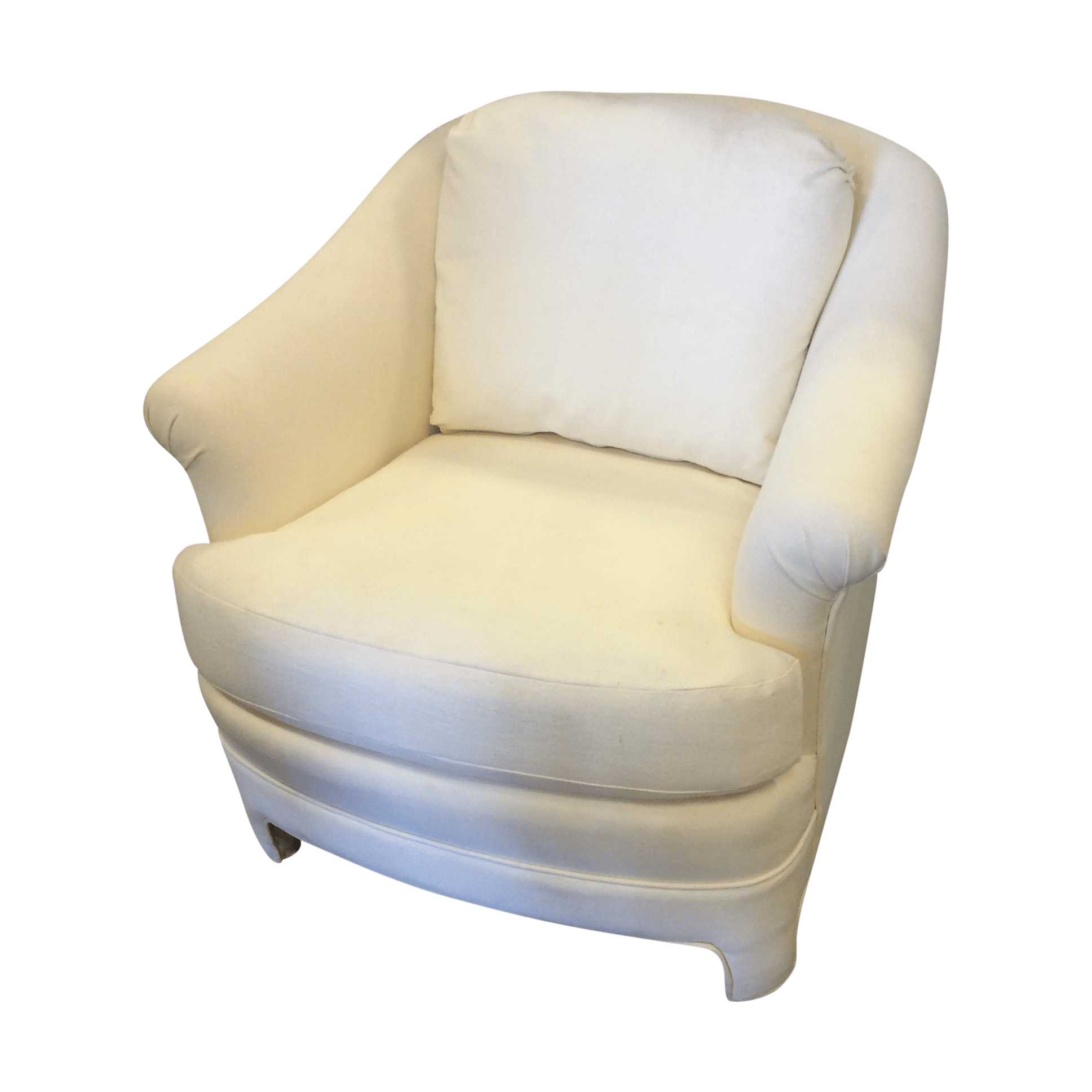 White Club Chair White Upholstered Barrel Back Club Chair Chairish