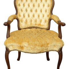 French Provincial Chair And Ottoman Lazy Boy Lift Vintage Tufted Gold Velvet Accent