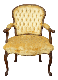 Vintage French Provincial Tufted Gold Velvet Accent Chair ...