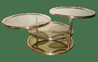 Mid-Century Brass Swivel Tiered Coffee Table Round | Chairish