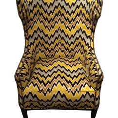 Yellow Club Chair Armless Rocking Flame Stitch Upholstered Chairish