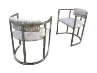 Vintage 1980s Chrome Barrel Chairs