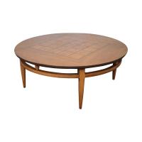 Lane Mid-Century Round Burl Walnut Coffee Table | Chairish