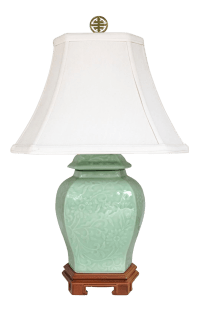 Celadon Green Ginger Jar Chinoiserie Accent Lamp with