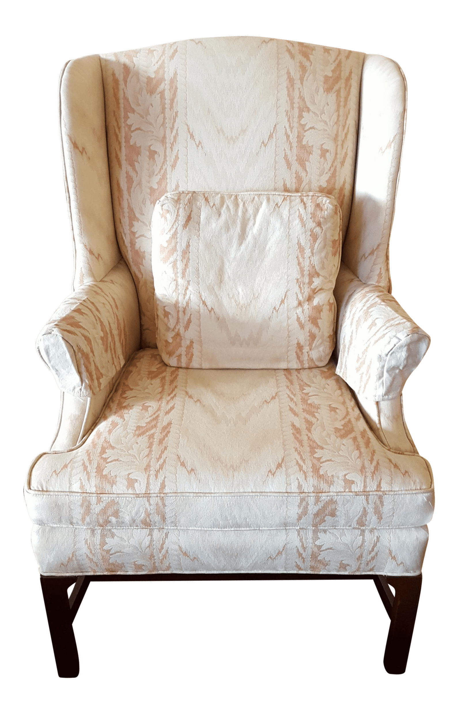 Floral Wingback Chair Flame Stitch Floral Wingback Chair Chairish