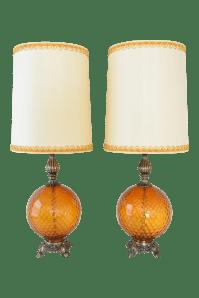 Mid-Century Amber Glass Globe Table Lamps - Pair   Chairish