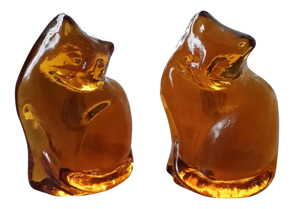 Blenko Glass Cat Bookends - Pair