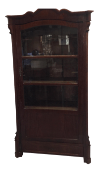 Antique Victorian Glass Front Cabinet | Chairish