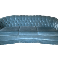 Curved Tufted Sofa Simmons Beds Blue Velvet Chairish