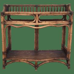 Legare Bamboo Sofa Table Contemporary Living Room Grey Rattan Console 2 Tier Chairish
