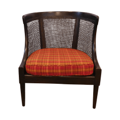 Barrel Accent Chair Dining Chairs Set Of 4 Vintage Wicker Back Chairish