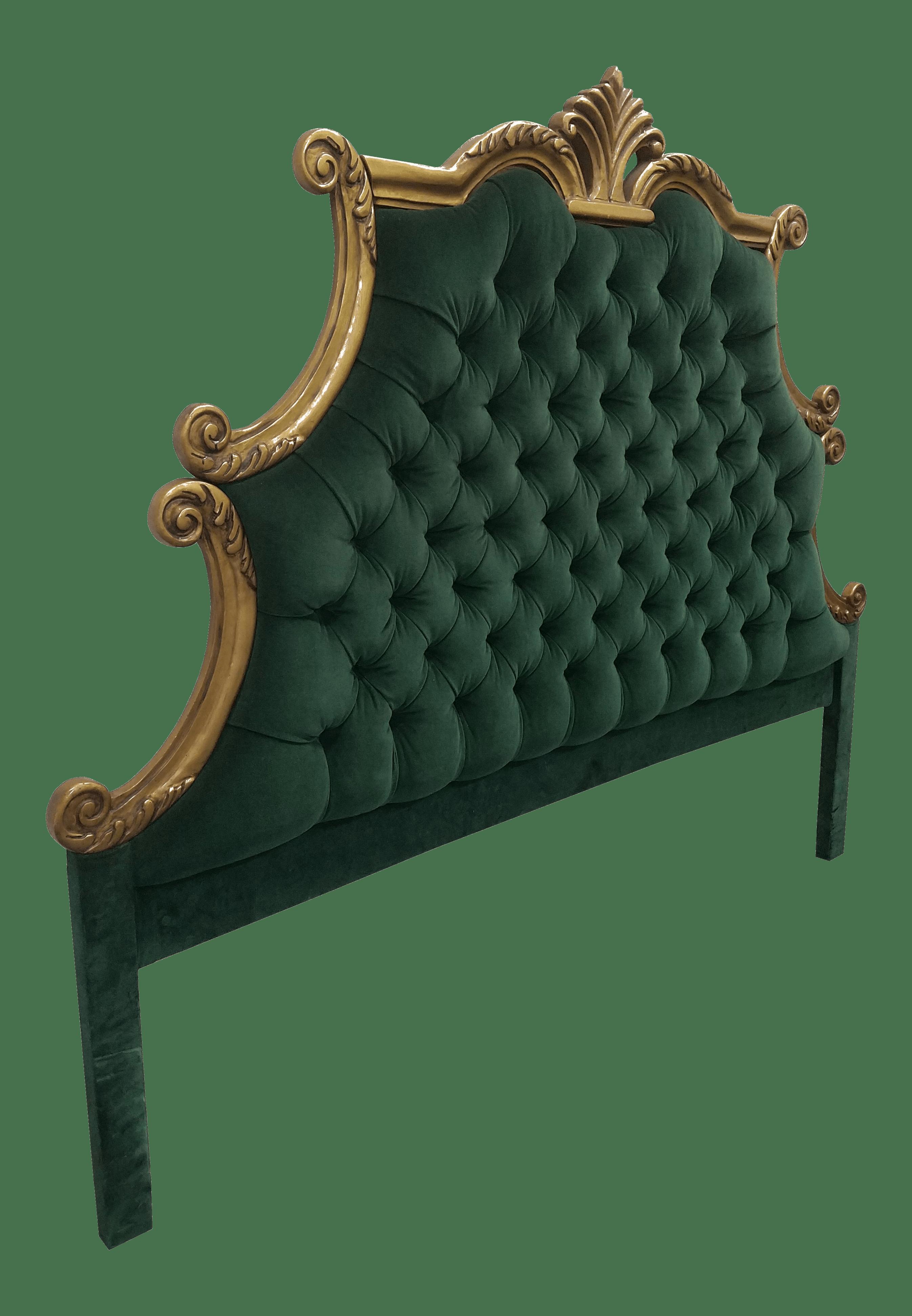 Hollywood Regency Style Green Velvet Tufted King Headboard