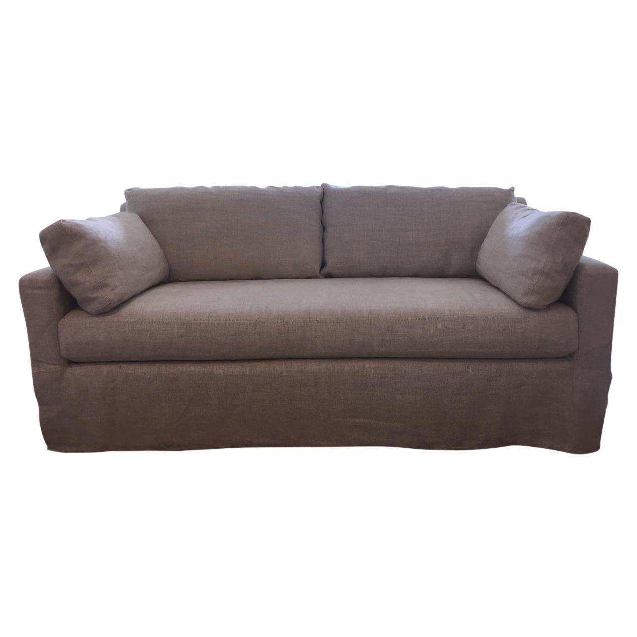 restoration hardware sectional sofa linen 3 2 seater sets belgian track arm chairish