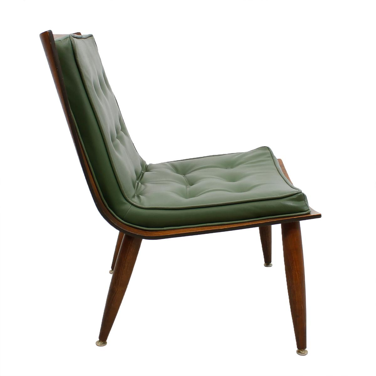 Milo Baughman Style Walnut Scoop Chair  Chairish
