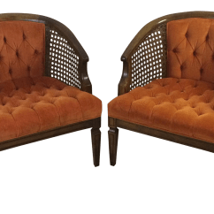 Cane Barrel Chair Types Living Room Mid Century Wood And Chairs Pair Chairish