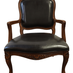 French Country Accent Chair Singing Potty Wood And Leather Chairish