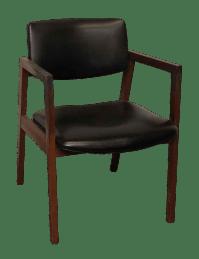 United Mid-Century Wood Black Vinyl Chair | Chairish