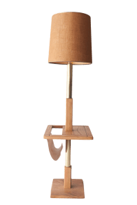 1970's Oak Floor Lamp With Table & Magazine Rack | Chairish