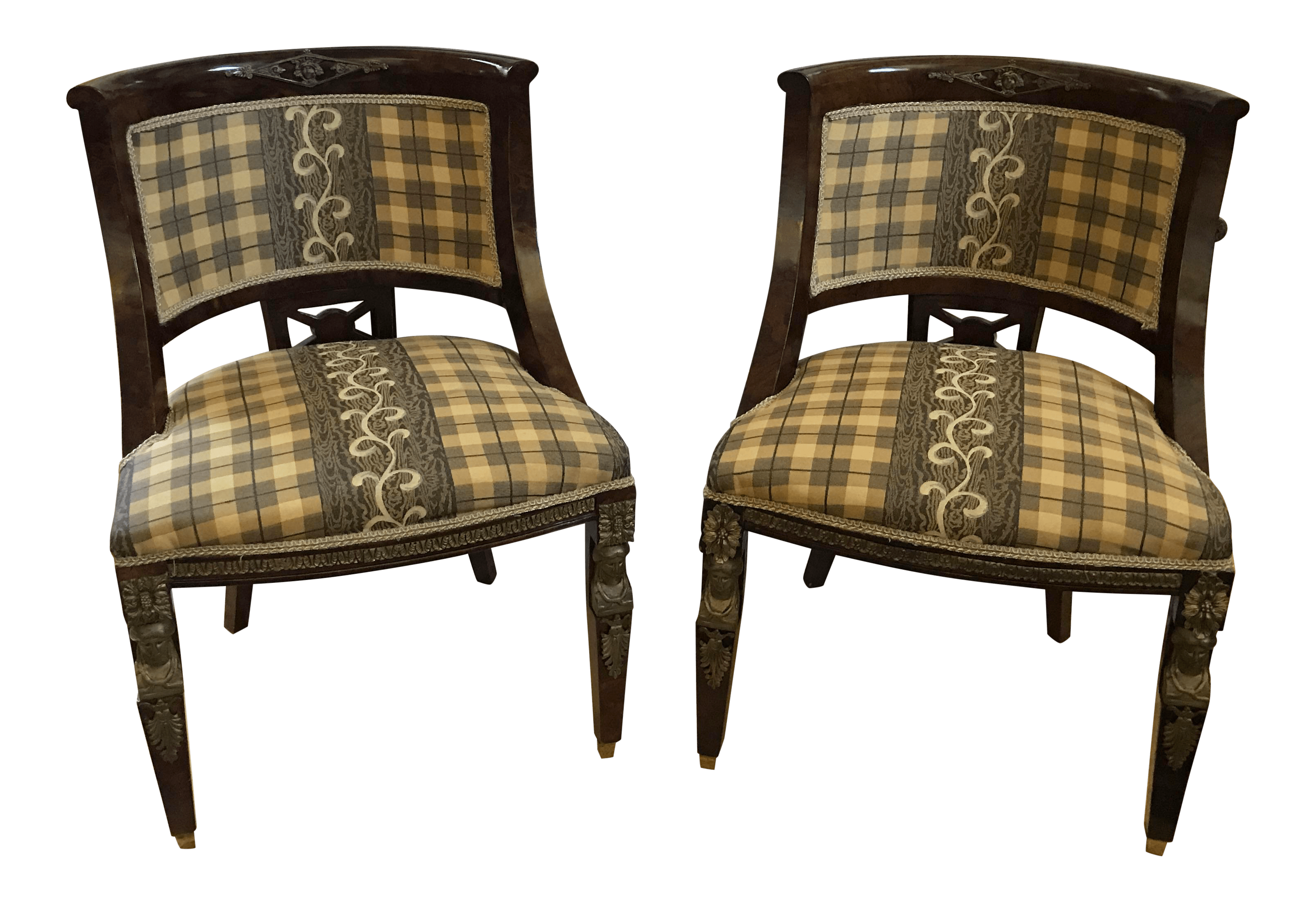 Plaid Chair European Antique Style Plaid Chairs A Pair Chairish