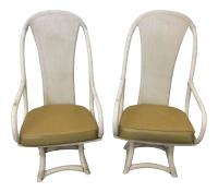 Funky High Back Bamboo Lounge or Dining Chairs | Chairish