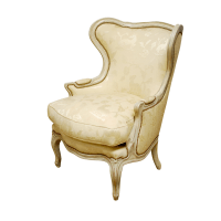 Louis XV Wingback Bergere Chair and Ottoman | Chairish