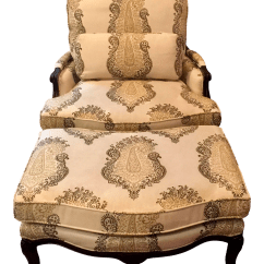 French Provincial Chair And Ottoman Covers Black Spandex Style Chairish