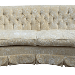 Hollywood Regency Curved Sofa Leather Land Dorothy Draper Inspired Tufted