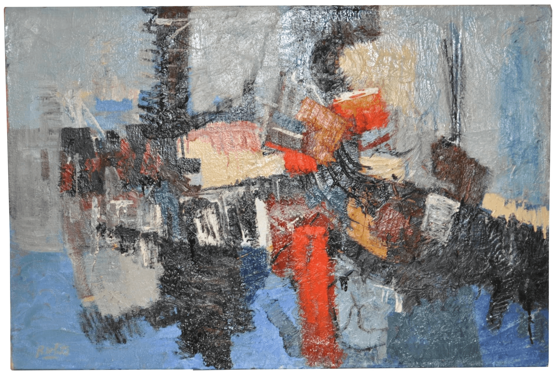 accent chairs and ottomans motel for sale mid-century modern abstract oil painting | chairish