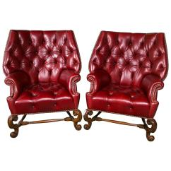 Oversized Leather Chair Egg Hanging Tufted Wingback Chairs Pair Chairish
