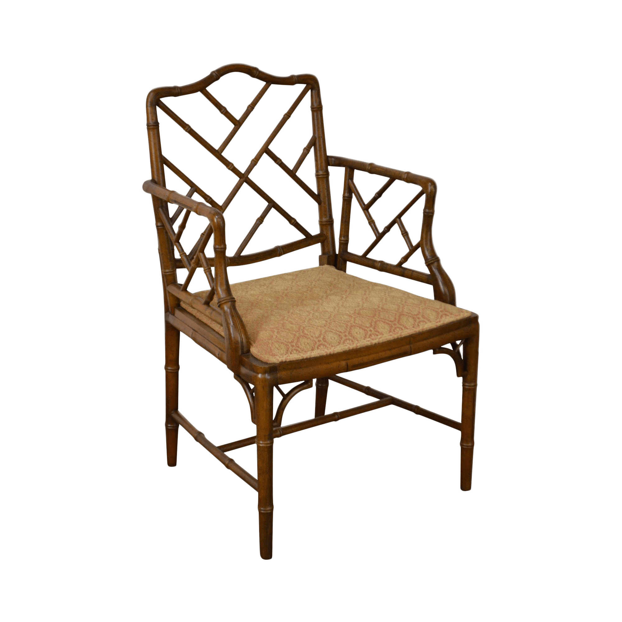 Chinese Chippendale Style Faux Bamboo Arm Chair  Chairish