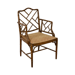 Chippendale Rocking Chair Yellow Lounge Chinese Style Faux Bamboo Arm Chairish