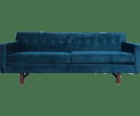 Mid-Century Teal Velvet Sofa | Chairish