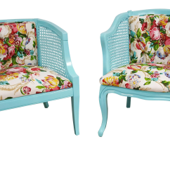 Aqua Accent Chair Revolving Ikea Vintage Refinished Blue Floral Cane Chairs