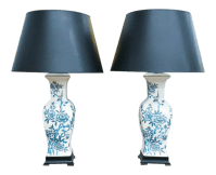 Blue & White Asian Lamps - A Pair | Chairish