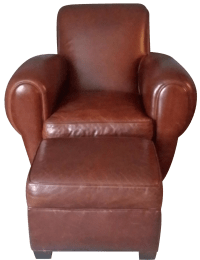 Restoration Hardware Leather Chair & Ottoman | Chairish