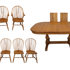 Early American Chair Styles Wing Covers Amazon Style Athol Oak Dining Set Chairish