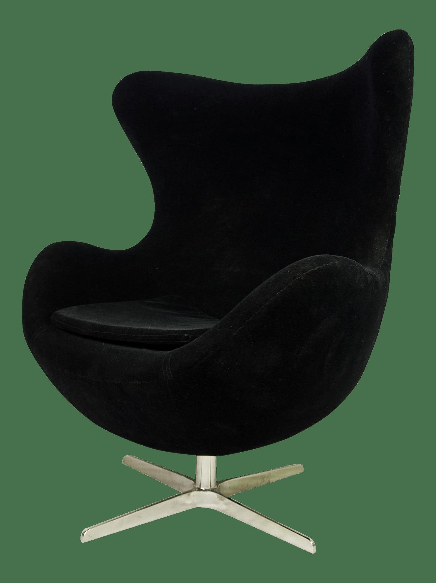 mid century egg chair lace sashes modern black velvet by arne jacobsen