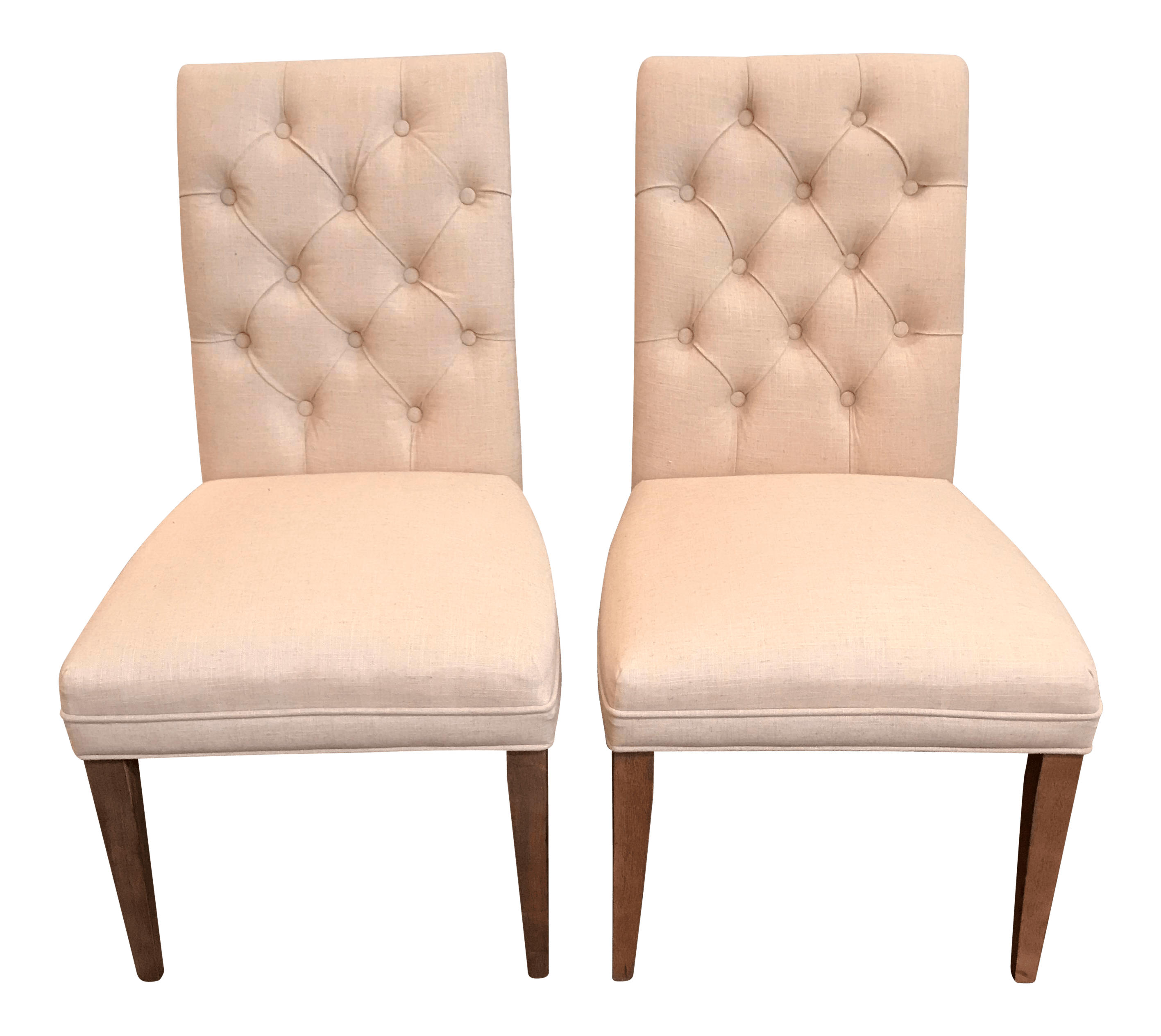 Linen Tufted Dining Chairs Pair Of Tufted Armless Linen Dining Chairs Chairish