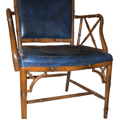 Navy Blue Leather Club Chair Teak Lounger Chairs Traditional Style Chairish
