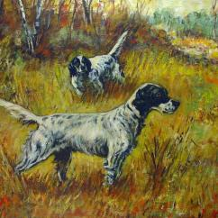 Where To Buy Outdoor Rocking Chairs Wire Dining Chair Hunting English Setters Oil Painting | Chairish