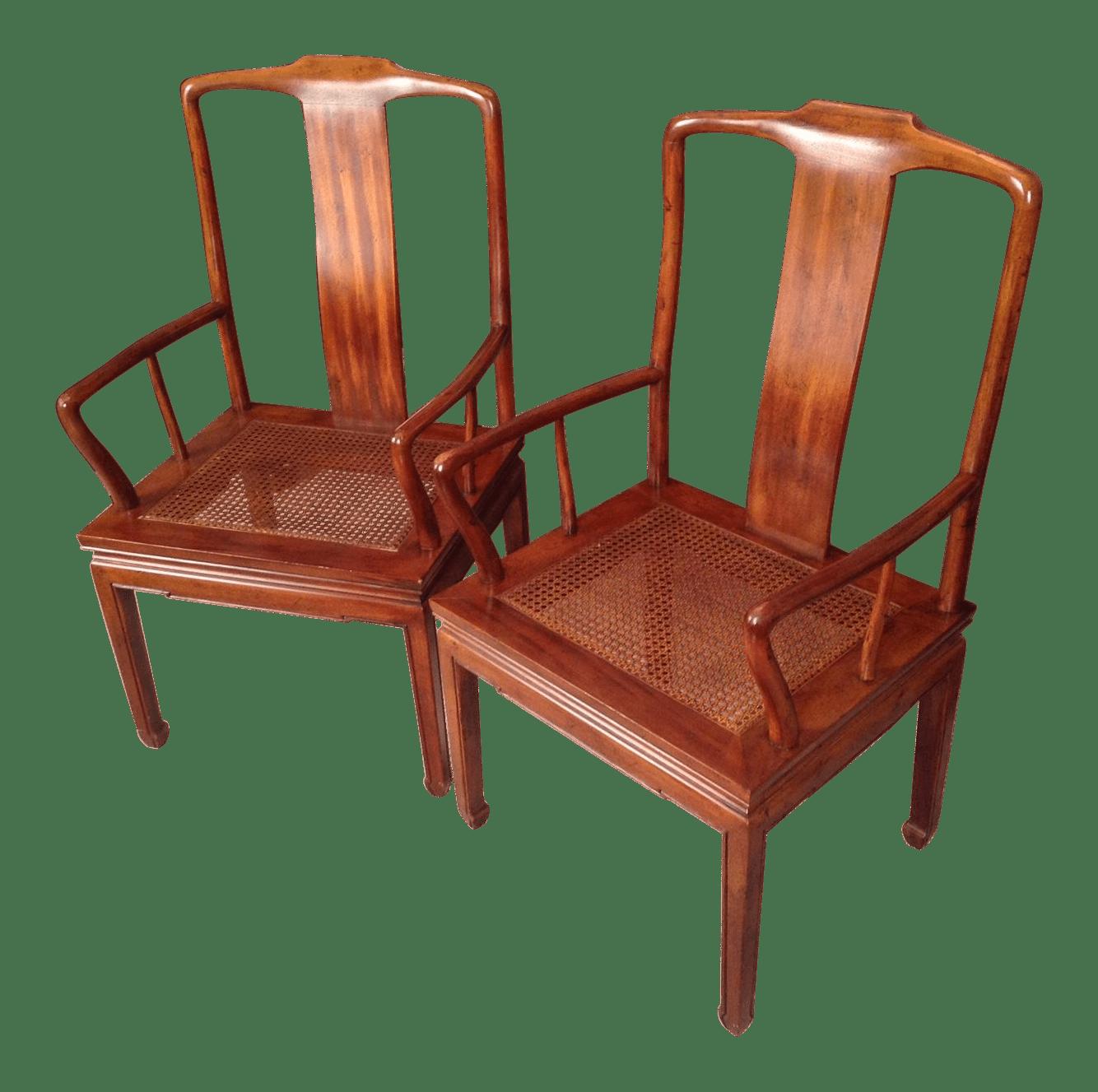 henredon asian dining chairs cream wingback chair cane arm pair chairish