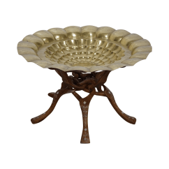 Moroccan Sofa Base What S Best To Clean A Cream Leather Inlaid Teak Brass Tray Side Table Chairish